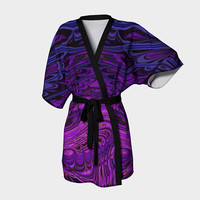 Design: Purple Freak Fractal - Kimono Robe, Robe, Bath Robe, Lounge Wear, Coverup, Swim Coverup, Gift Idea