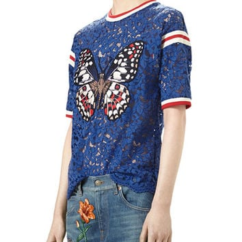 Gucci Butterfly-Appliqué Lace Top, Deep Royal