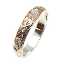 Pink rose gold plated sterling silver 925 Hawaiian plumeria scroll 4mm band ring size 2 to 12