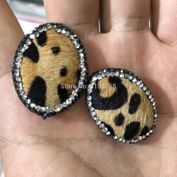10Pcs Spacer connector beads,  pave crystal Rhinestone gems oval beads