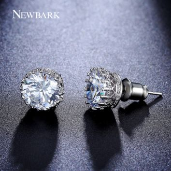 Silver Color Stud Earrings Solitaire 8mm 2ct Cubic Zirconia Small Crown Post Earring Fashion Jewelry