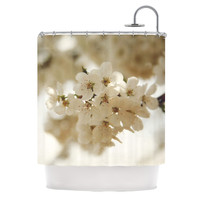 """Angie Turner """"Flowering Pear"""" White Petals Shower Curtain"""
