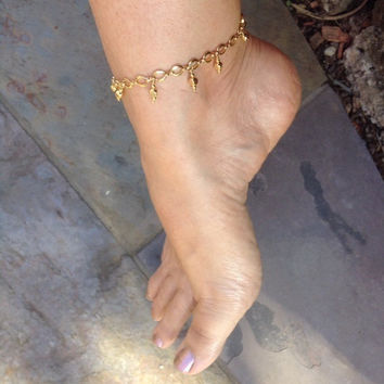 Gold or Silver Dangles, Anklet, gold overlay, Rhodium overlay, ankle bracelet, ankle jewelry,