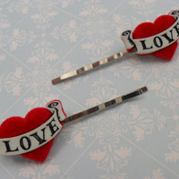 Love Tattoo heart hair clips / bobby pins