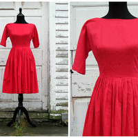 Vintage 1950's 50s Red Swing Evening Cocktail Party Dress Costume /A Perfect Dress For Christmas Or New Years /Make an Impression