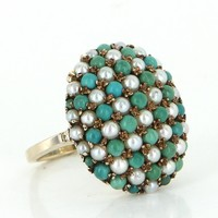 Turquoise Cultured Pearl Vintage Dome Cocktail Ring 10k Gold Estate Fine Jewelry
