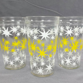 Atomic Starburst Drinking Glasses, Mid Century Star Burst Tumblers, 1950s Barware, Vintage Peanut Butter Glasses, Swanky Swigs