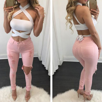 Fashion Ripped Jeans For  Hip Lift Skinny Jeans Woman Stretchy Pants Jean Femme Destroyed Hole Jeans Trousers