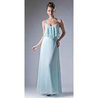 Mint V-Neck Spaghetti Strap Long Bridesmaids Dress Ruffled Bodice