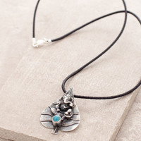 Silver Ganesh on Bodhi Leaf Necklace