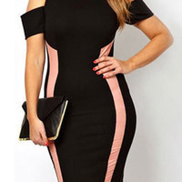 Black and Pink Cold Shoulder Bodycon Dress