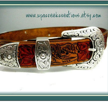 Hand Tooled Leather Belt with Rhinestones  by UpACreekCreations