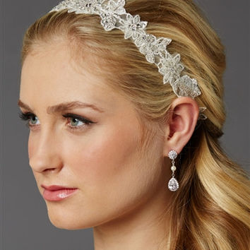 European Lace Floral Bridal Headband with Genuine Preciosa Crystals and Seeds