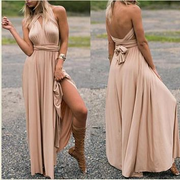 11 11 New Arrival Sexy Women Multiway Wrap Rope Cross Bandage Dress Sexy Halter Dress Long Party Bridesmaids Infinity Robe