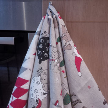 Pure Baltic Linen Kitchen Towel with Xmas Pattern