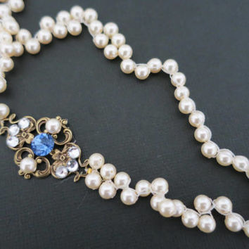 Pearl and Crystal Necklace Wedding Jewelry for Brides Vintage Style Bridal Necklace Something Blue Bridesmaid Necklace Bronze Wedding Sukran