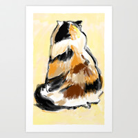 Calico cat back Art Print by samupress
