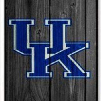 Bestonesell NCAA University of Kentucky Wildcats Logo Wood Backgroud iPhone 4/4S Case Cover