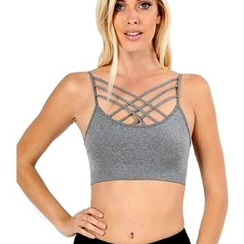 Triple Criss Cross Bralette, Heather Grey