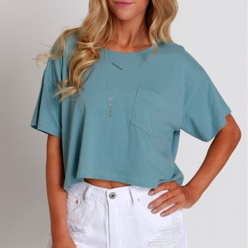 Far From Basic Cropped Tee Blue