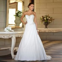 Stock Sweetheart Chiffon Cheap Plus Size Beach Wedding Dresses High Quality A-line Beaded Summer Bohemian Bridal Gowns
