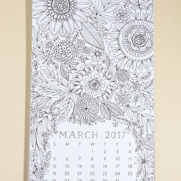 Picturesque Planning 2017 Coloring Calendar | Mod Retro Vintage Desk Accessories | ModCloth.com