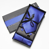 Men Ties Set Cufflinks Hankerchief Tie in Box Necktie Packaging Gift
