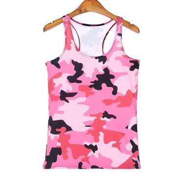 Sports Tank Tops Women Sexy Sleeveless T Shirt Clothes Elastic Yoga Running Vests Camisole Pink Camouflage Digital Print Vests