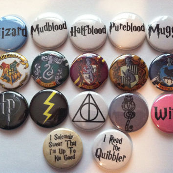Harry Potter Pins Set of 6 by frostovision on Etsy