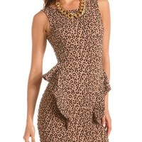 Textured Animal Peplum Dress: Charlotte Russe