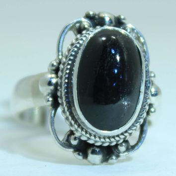 Sterling Silver Victorian Lace Ring with Black Star Diopside