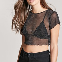 Sheer Mesh Metallic Crop Top