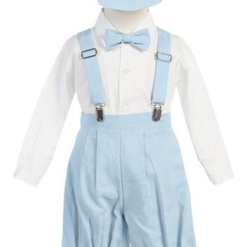 Light Blue Linen Blend Suspender Knicker Shorts Set 3M-4T