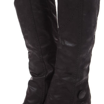 Black Overlay Wedge Button Boot