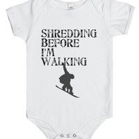 Baby Snowboarder-Unisex White Baby Onesuit 00