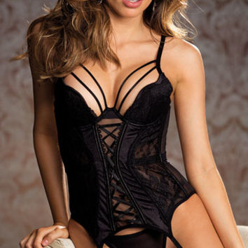 Enticing Black Bustier Set, garter bustier set - Yandy.com