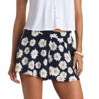 Flowy Daisy Print High-Waisted Shorts by Charlotte Russe - Navy Blue