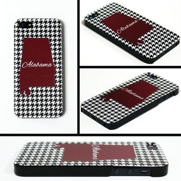 iPhone 5 Cell Phone Case Alabama State Houndstooth Crimson Football Tailgate Apple Personalized Protective Black Plastic Hard Cover VM-1021