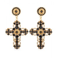 CRYSTAL-EMBELLISHED CROSS CLIP-ON EARRINGS