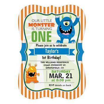 Funny Little Monster Birthday Party 5x7 Paper Invitation Card