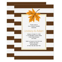 Orange maple leaf & stripes wedding couples shower card