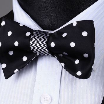 BE04W Black White Polka Dot Double Side Bowtie Men Cotton Party Classic Wedding Self Bow Tie