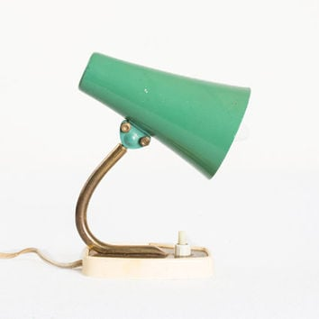 Mid Century Desk Lamp / TableMint  Lamp / Bedside Lamp / Ambient Lighting / Brass / 50's Small Lamp / Retro Home Decor / Mint Green Light