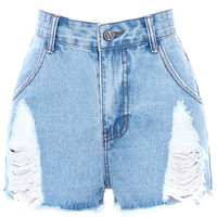 ROMWE Distressed High Waist Blue Denim Shorts