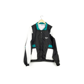 90s REEBOK windbreaker jacket / vintage 1990s / retro athletic / colorblock / black white teal / vaporwave / logo / hip hop / mens large
