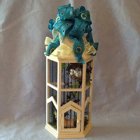 Elegant wooden birdcage, birdcage tower, elegant home decor, bird decor, gold and blue home accents, stylish decor for the home
