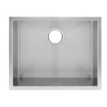 DAX-KA-SQ-2318 / DAX HANDMADE SINGLE BOWL UNDERMOUNT KITCHEN SINK, 18 GAUGE STAINLESS STEEL, BRUSHED FINISH