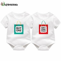 Printed White Onesuits for Twins - 3-12 Months