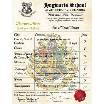 Hufflepuff Personalized Harry Potter Report Card - Hogwarts School of Witchcraft and Wizardry