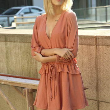 Deep V-Neck Three Quarter Sleeve Drawstring Waist Ruffle Mini Dress